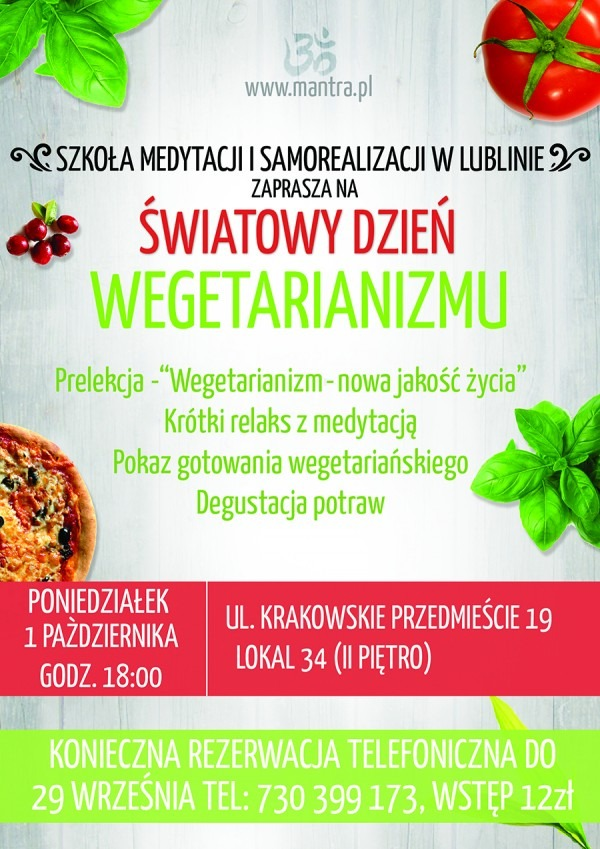 Światowy Dzień Wegetarianizmu 2018 - plakat