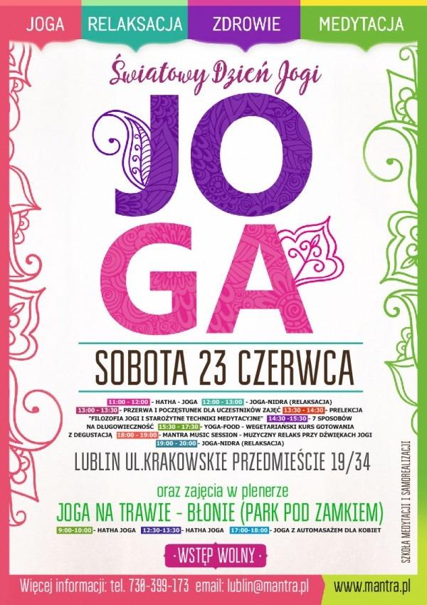 Światowy Dzień Jogi w Lublinie 2018 - plakat